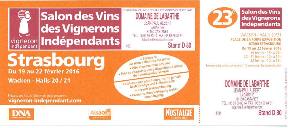Domaine de labarthe blog vin gaillac liste des salons 2016 - Salon des vignerons independants strasbourg ...